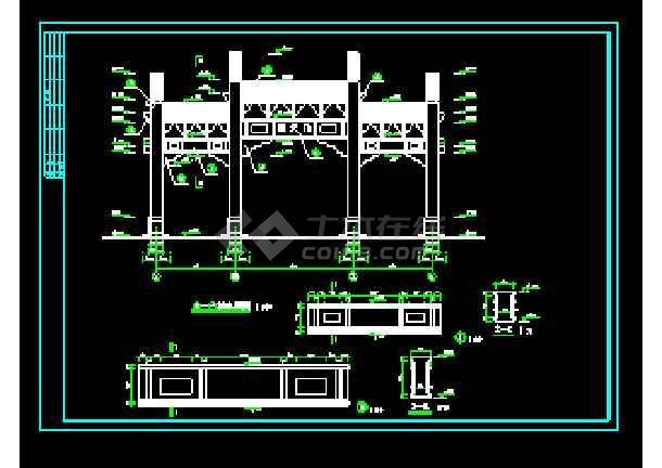 某生态园南天门建筑cad施工设计图-图1