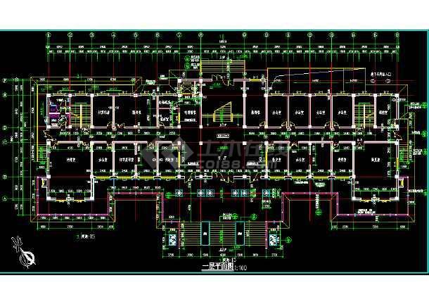 某市区办公楼施工图+(仿古)CAD图纸-图2