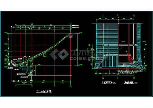 某市区办公楼施工图+(仿古)CAD图纸-图3