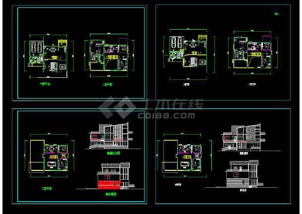 别墅方案cad平立剖面设计带效果图