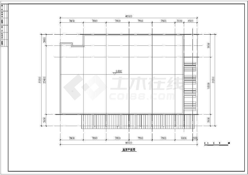 某地小型食堂建筑方案图(标注详细)-图1