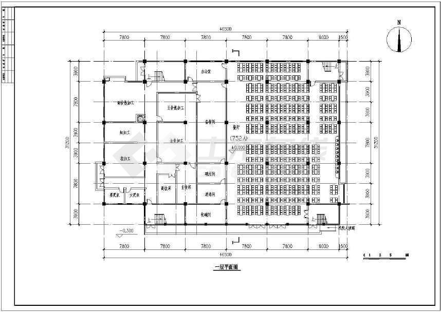 某地小型食堂建筑方案图(标注详细)-图2