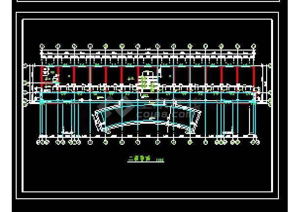乡村委办公楼建筑cad施工设计图-图1