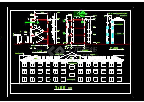 乡村委办公楼建筑cad施工设计图-图2