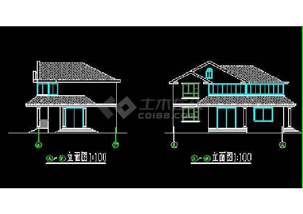 乡村别墅方案cad平立剖面设计及效果图