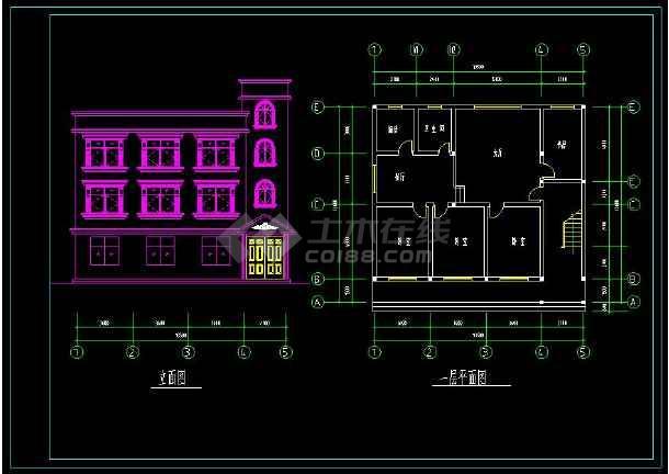 某地三层住宅别墅建筑设计CAD方案图-图1