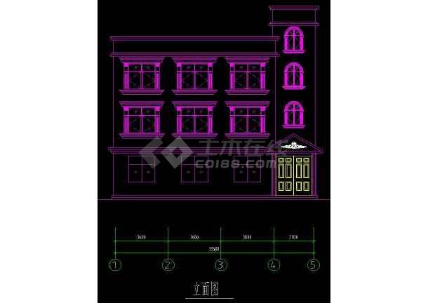 某地三层住宅别墅建筑设计CAD方案图-图3