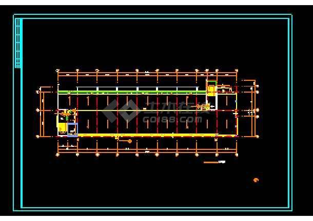 经典五层办公楼建筑cad平面施工设计图-图2