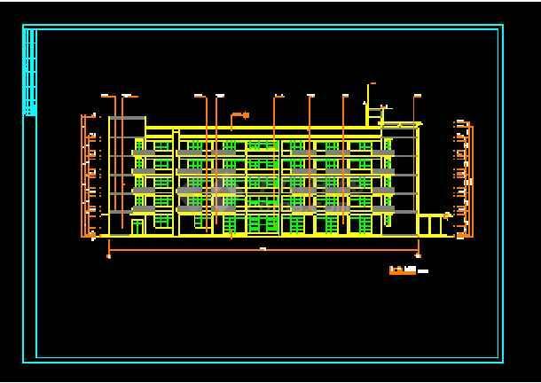 经典五层办公楼建筑cad平面施工设计图-图3