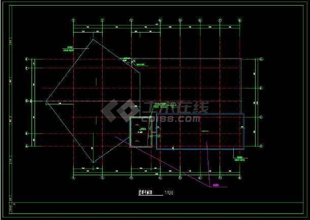 某小区内高级会所建筑cad设计施工方案图-图1