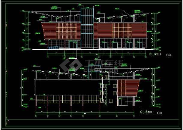 某小区内高级会所建筑cad设计施工方案图-图3