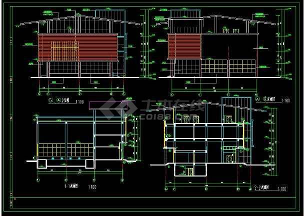 某小区内高端会所建筑cad设计施工图纸-图1