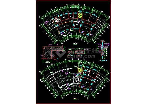 某市小区会所建筑施工CAD设计平立面图纸-图1