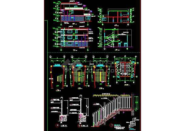 某市小区会所建筑施工CAD设计平立面图纸-图3