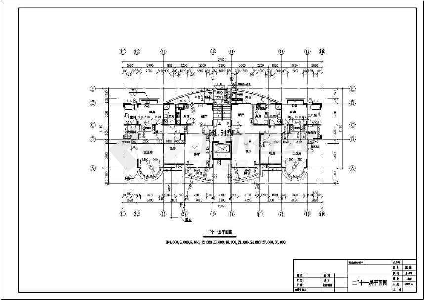 某地十二层商主楼建筑施工图(标注详细)-图2