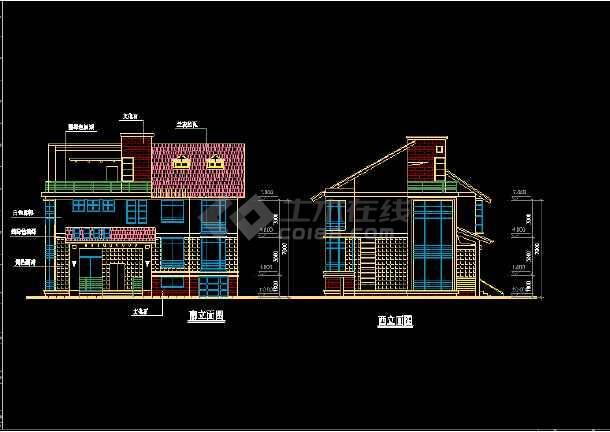 11套别墅户型CAD平立面设计方案图-图3