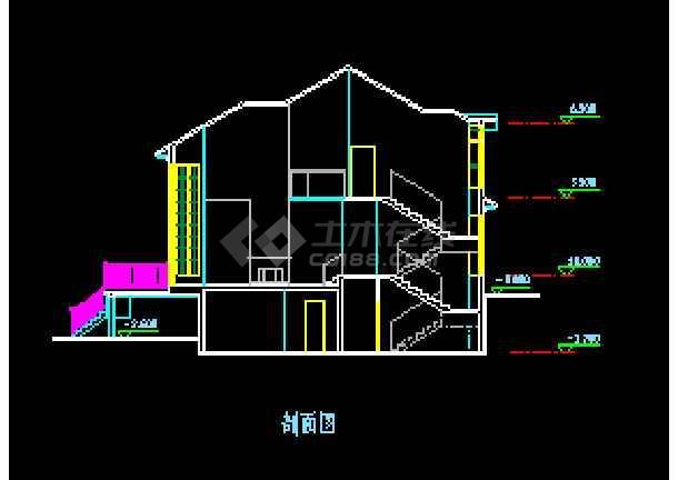 坡地独栋别墅方案设计cad平立剖面施工图