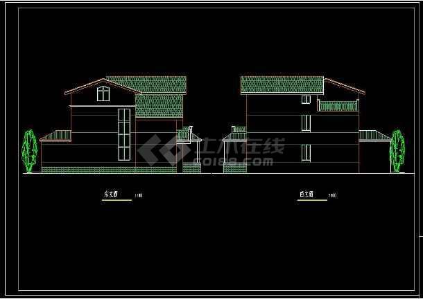 某地农村独院式别墅建筑cad设计方案图(含设计说明)-图2