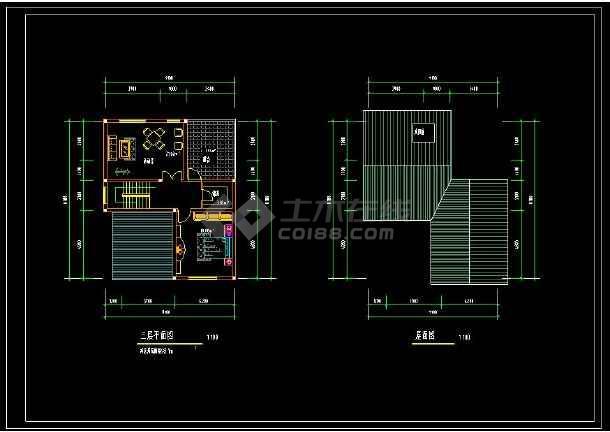 某地农村独院式别墅建筑cad设计方案图(含设计说明)-图3