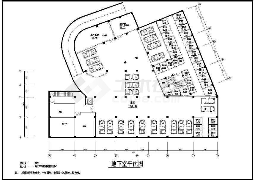 某地时代广场建筑图纸(标注详细)-图1