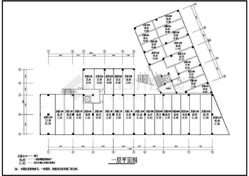 某地时代广场建筑图纸(标注详细)-图2
