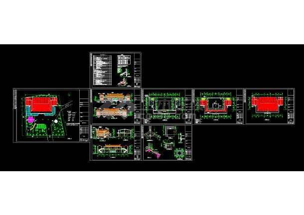 江南安息堂建筑cad平立剖面设计图