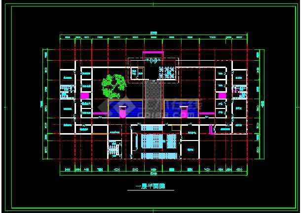 某园林会所施工装修CAD平面设计图-图1