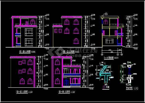 某市区12个别墅CAD设计方案图纸-图2