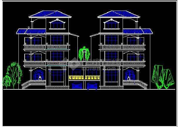 某市区12个别墅CAD设计方案图纸-图3