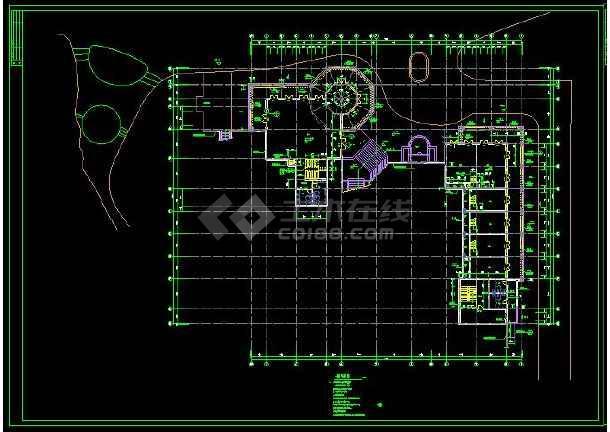 某高档会所建筑方案设计CAD详细施工图-图1