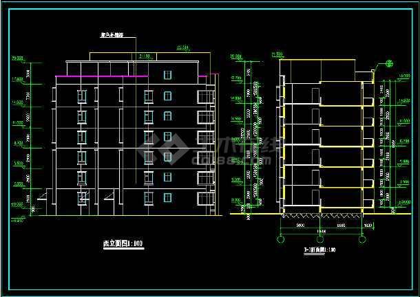 某城市一住宅楼的CAD建筑扩出图纸-图1