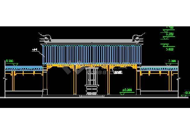 某地大殿平立剖面设计施工CAD图-图3
