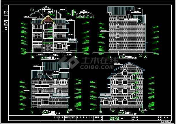 某城市精致独立式别墅CAD设计施工图-图1