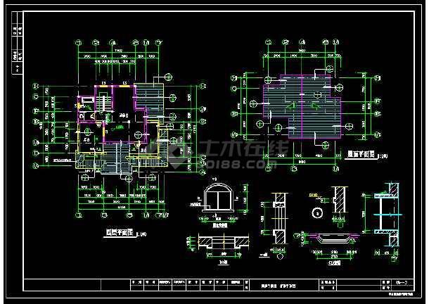 某城市精致独立式别墅CAD设计施工图-图3