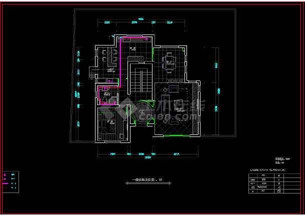 现代二层别墅建筑cad施工设计图-图2