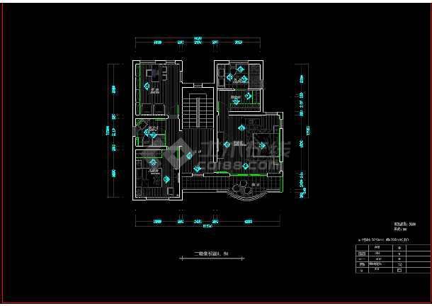 现代二层别墅建筑cad施工设计图-图3