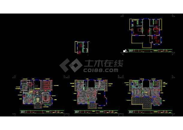 广东某三层别墅装修cad设计施工图-图3