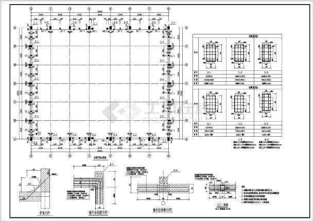 2017某排架结构平房粮仓结构CAD图纸(含设计说明)-图1