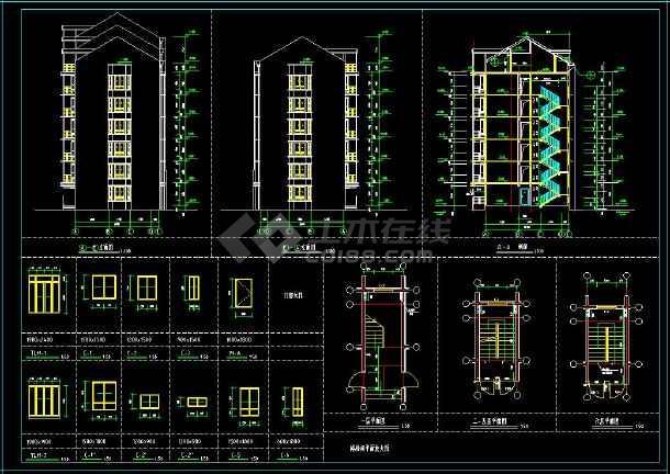 某地顶层带阁楼多层住宅建筑cad设计图(含设计说明)-图3