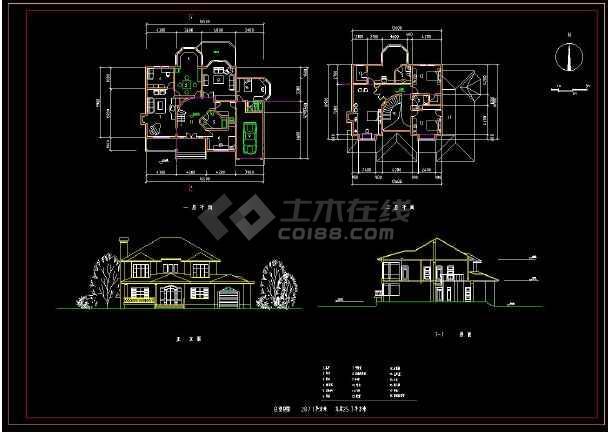 某地新农村住宅别墅建筑设计方案CAD图集-图2