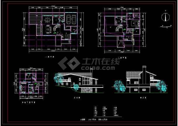 某地新农村住宅别墅建筑设计方案CAD图集-图3