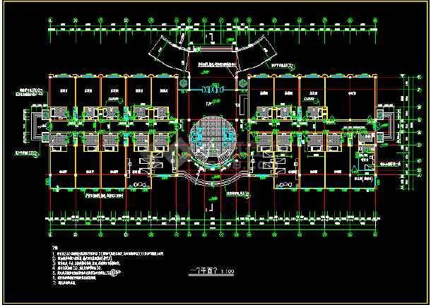 某市区二层宾馆CAD平立面施工图-图2