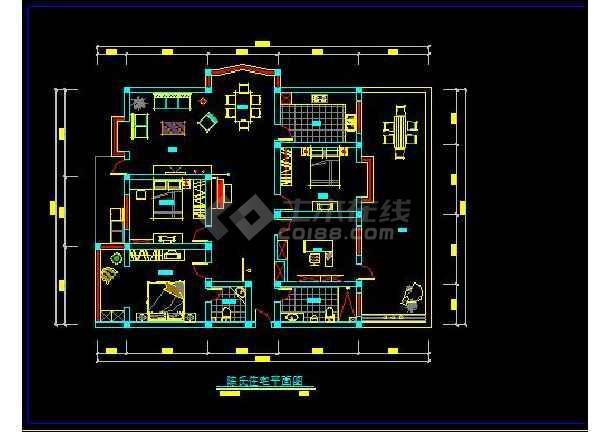 陈氏住宅家庭装修设计方案CAD图-图2