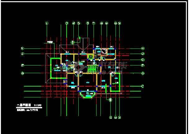某小区高档别墅全套CAD设计建筑图纸-图2