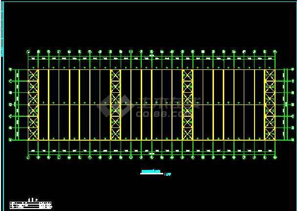 某公司厂房工程结构建筑CAD施工设计图纸-图2