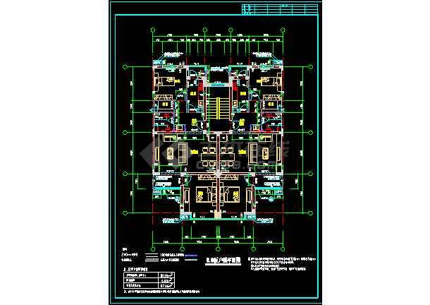 某一处住宅楼户型的CAD平面图纸-图3