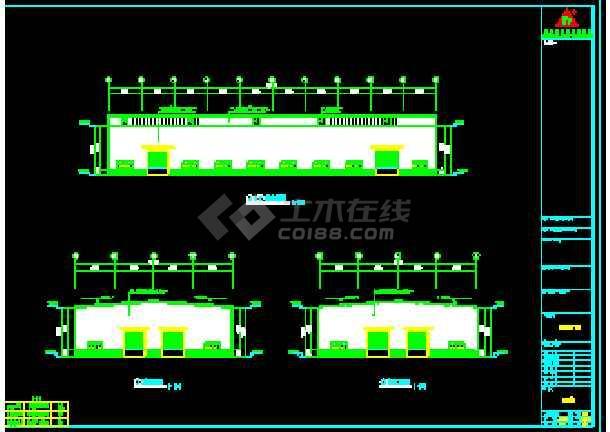 某公司67米x54米钢结构工程CAD施工设计图-图1