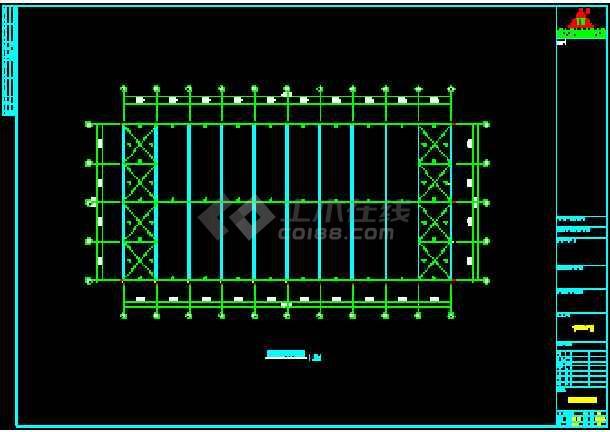 某公司67米x54米钢结构工程CAD施工设计图-图2
