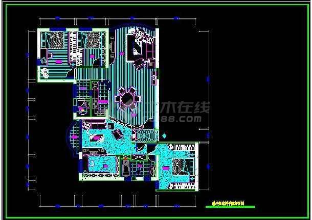 阳光海景内四居室全套装修设计施工图-图1