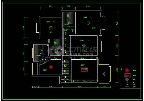 某小区三居室住宅室内装修设计CAD图-图2